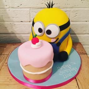 Minion and Cake Birthday Cake